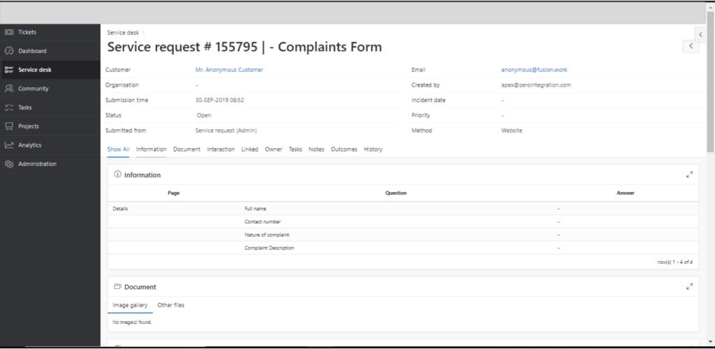 Service Desk - Complaints Form