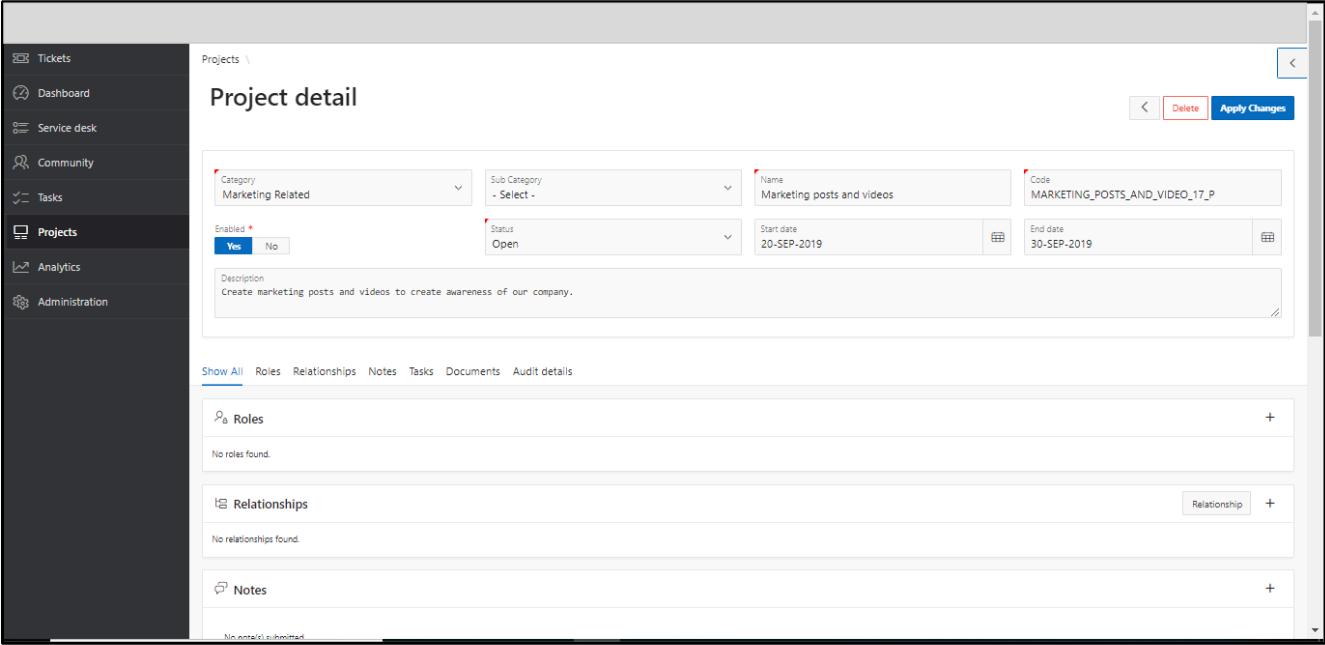 Project Management Project Details
